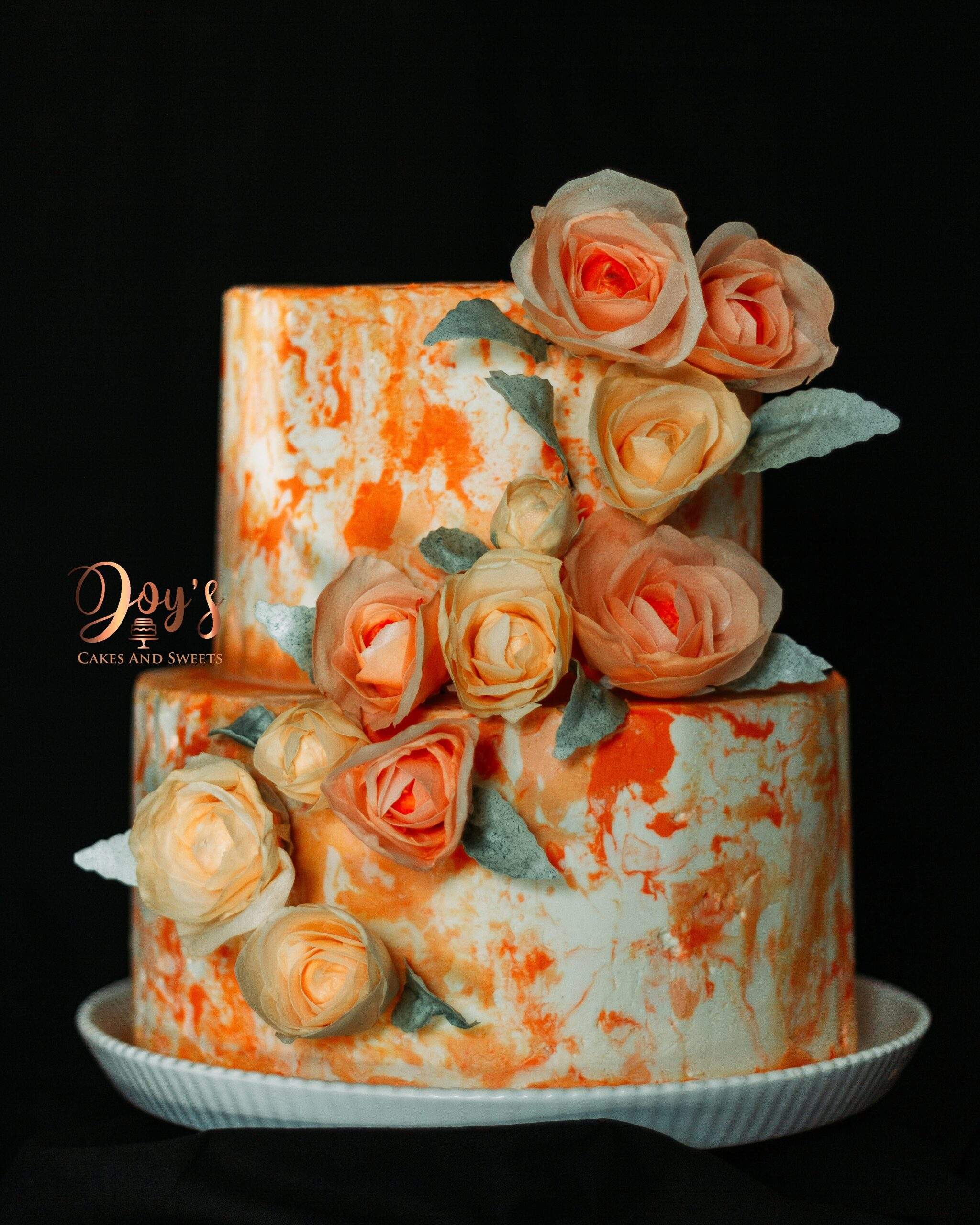 Marbled Buttercream Cake with Wafer Paper Flowers